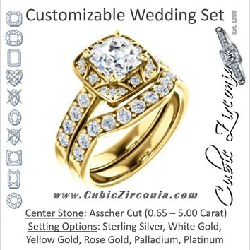 CZ Wedding Set, featuring The Payton engagement ring (Customizable Asscher Cut with Segmented Cluster-Halo and Large-Accented Band)