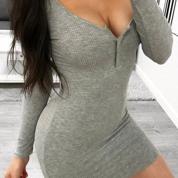 New Grey Studded Deep V-neck Long Sleeve Bodycon Casual Mini Dress