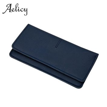 Aelicy Luxury PU Leather Fashion Women Simple Long Wallet New Design Vintage Solid Purse Wallet Female Famous Brand Card Holders