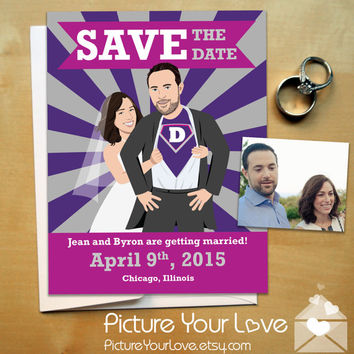 Save The Date Cards: Custom Superhero Portrait, Comic Book Save The Dates, Super Hero Save The Dates, Geeky Save The Date, Superhero Wedding