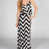 NEBLINA Ruffle Chevron Maxi Dress