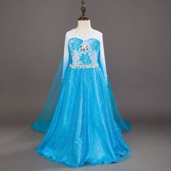kids blue birthday dresses for 4 5 6 7 8 9 10 years children's halloween costumes for girls princess clothes cartoon elsa dress