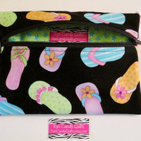 SALE Designer Zippered Bag, Zippered Pouch, Bright, Flip Flops print, Cosmetic bag, Medicine Pouch, Carry all
