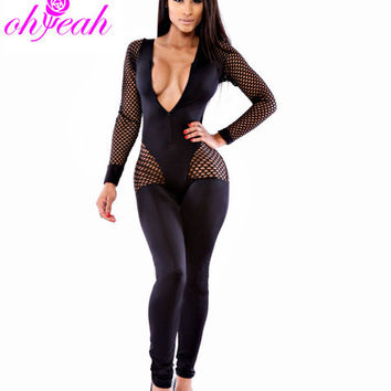 R70086 Plus size women Jumpsuit Net patchwork body Nightwear for women Top sale Sexy club wear Ohyeah V-neck Bodysuit