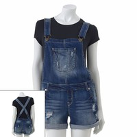 Wallflower Distressed Denim Overall Shorts - Juniors, Size: