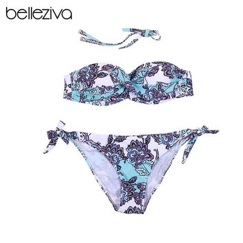Belleziva Women Sexy Two Piece Floral Print Off The Shoulder Built-In Push Up Knotted Bikini Set Romper Bather Swimsuit Swimwear
