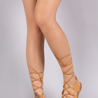 Strappy Gladiator Lace Up Flat Sandal