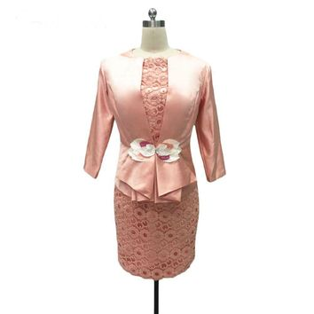 Mother Of The Bride Dresses Sheath Knee Length Pink Lace 2 Piece With Jacket Mother Dresses Evening Dresses