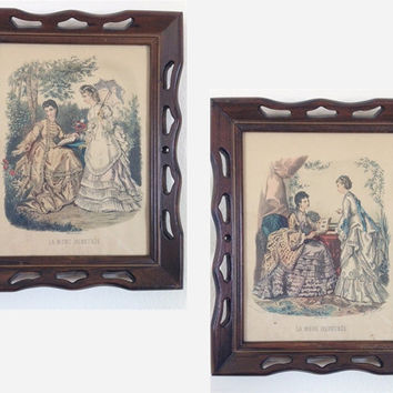La Mode Illustree Victorian Girl Framed Set Vintage 1950's Print created from 1870 fashion plates