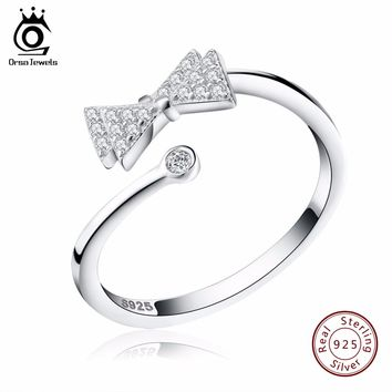 ORSA JEWELS Real Sterling Silver 925 Rings Adjustable size with Crystal Bow Party Accessories Jewelry for Best Friend SR08