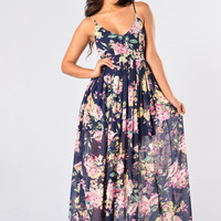 Hydrangea Dress - Navy