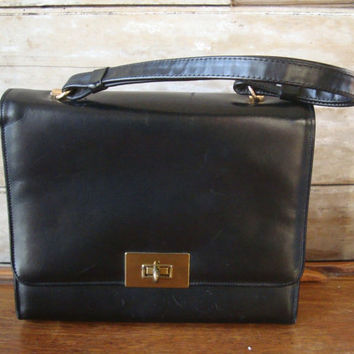 Vintage Black Rolfs Clutch Purse 1960s Lovely Leather