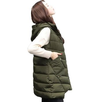 Womens Mid Length Zipped Up Puffer Vest with Hood