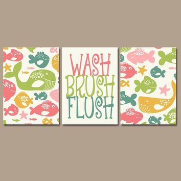 Fish Kid Bathroom, Ocean Animals Wall Art, Nautical Decor, Wash Brush Flush, Beach Theme, Shared Child Bath, Brother Sister, Set of 3
