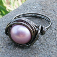 Swarovski Pearl Ring In Powder Pink And Gunmetal | Luulla
