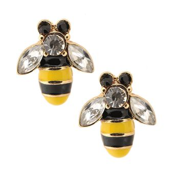 Gold Plated Yellow and Black Bumble Bee Earrings