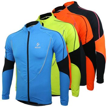 Arsuxeo Winter Warm Fleece Running Fitness Cycling Bike Bicycle Outdoor Sports Clothing Jacket Wear Wind Coat Long Sleeve Jersey