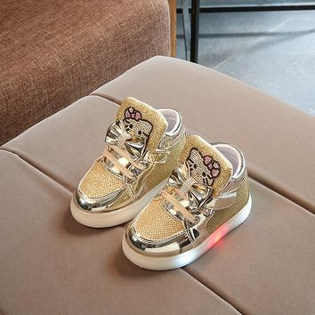 Kids Girls Shoes Spring Autumn Winter Children's Sneakers Boy Shoes Chaussure Enfant Hello Kitty Baby Shoes With LED Light
