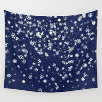 Snowflakes in space Wall Tapestry by anipani