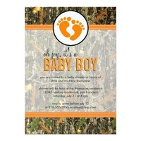 Orange - Camo Baby Boy Shower Invitation