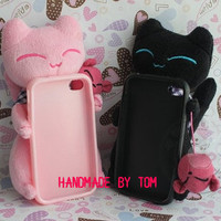Lovely cat iphone 5 case iphone 4 iphone 4s case 3d iphone cover