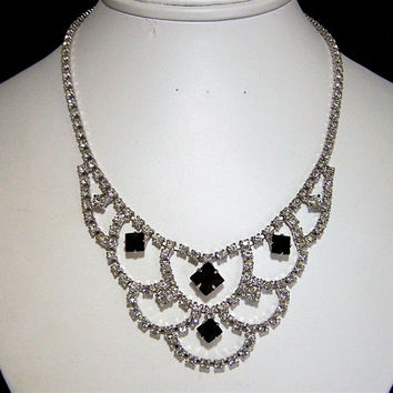 Black Crystal Rhinestone Bridal Necklace,  Special Occasion Necklace, Black and White Wedding Jewelry, Mid Century Necklace  617