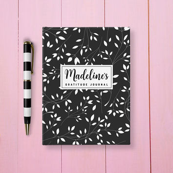 Personalized Gratitude Journal, Custom Notebook, Writing Journal, Personalized Black Floral Book, Custom Gratitude Journal, Black And White