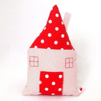 Fabric Cottage with Pocket - Pillow House with Fairy Pocket - Soft Toy - Toy House - for Children - for Toddlers for Kids - Handmade Toy