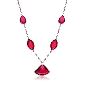 14K Rose Gold Red Gem Pendant Necklace