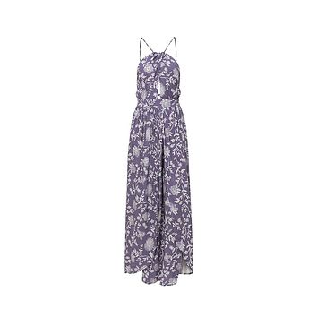 Can't Buy My Love Floral Pattern Sleeveless Spaghetti Strap Cut Out Halter Backless Split Casual Maxi Dress - 3 Colors Available