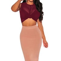 Wine Sheer Mesh Knotted Crop Top