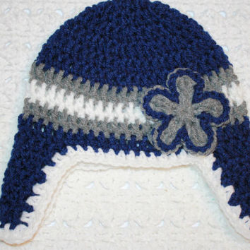 Dallas Cowboys Hat with Earflaps 0-3 mo  Baby Shower Gift, Infant, Perfect Photo Prop