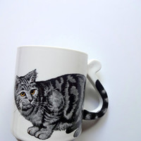 Vintage Tabby Cat Ceramic Coffee Mug 1980s
