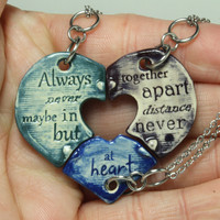 Friendship Heart pendants set of 3 pottery pieces Multi color Puzzle heart Always together quote