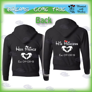 mickey minnie mouse disney matching couple shirts, mickey's hands with heart, custom date, prince and princess, 112