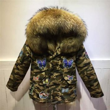 Fashion Thick Warm Mrs Butterfly style camouflage natural fox fur coats winter jacket women real fur coat