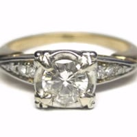 Vintage 18K Round .54 Carat Diamond Engagement Ring Size 7