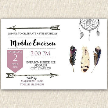 Tribal birthday invitation, 4x6 printable birthday invitation