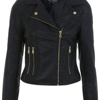 Petites Faux Leather Biker - View All  - New In