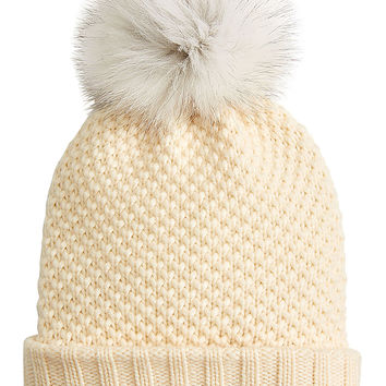 Burberry Shoes & Accessories - Wool-Cashmere Hat with Fox Fur Pompom