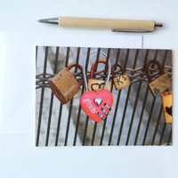 Romantic love card blank inside, Red Heart love padlock of Paris, French Travel  4x6 valentine engagement Wedding anniversary for her him