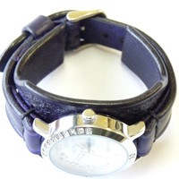 Purple Leather Watch For Woman, Women's  Watch, Violet Leather Watch