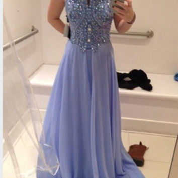 Spaghetti Straps Beads A-Line Prom Dresses,Prom Dress