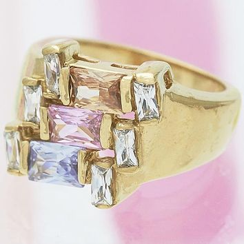 Gold Layered Women Baguette Multi Stone Ring, with Multicolor Cubic Zirconia, by Folks Jewelry