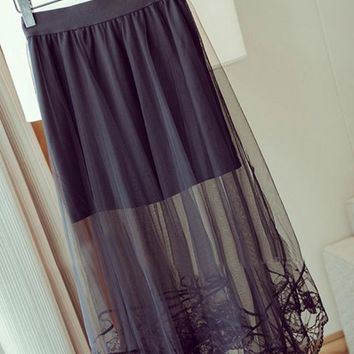 New Summer Full Length Tulle Skirt Women Gauze Sheer Lace Floral Gothic Long Maxi Skirt For Lady