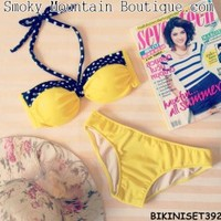 Very Cute 2PC Bikini Set-Yellow with Black and White Polka Straps Top and Bikini- BS392 S/M - Smoky Mountain Boutique