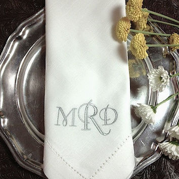 4 Crown Monogrammed Embroidered Cloth Dinner Napkins -Cotton / hostess gift / embroidered napkins / personalized napkins / wedding napkins