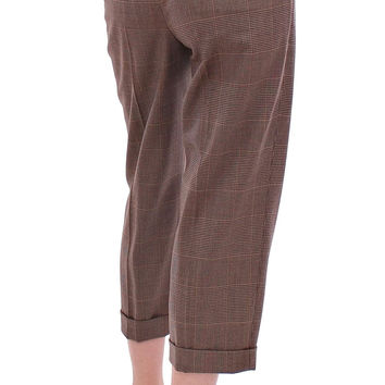 Dolce & Gabbana Brown Virgin Wool Checkered Cropped Pants