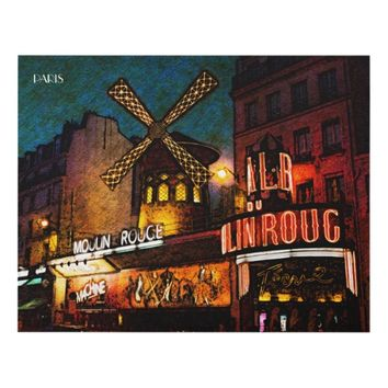 Retro Paris Famous Cabaret With Glowing Lights Panel Wall Art