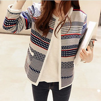 Women's Print  Patchwork Blue Cardigan